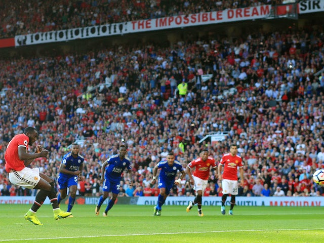 Romelu Lukaku sees his penalty saved during the Premier League game between Manchester United and Leicester City on August 26, 2017