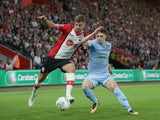Ruben Vinagre and Jack Stephens in action during the EFL Cup game between Southampton and Wolverhampton Wanderers on August 23, 2017