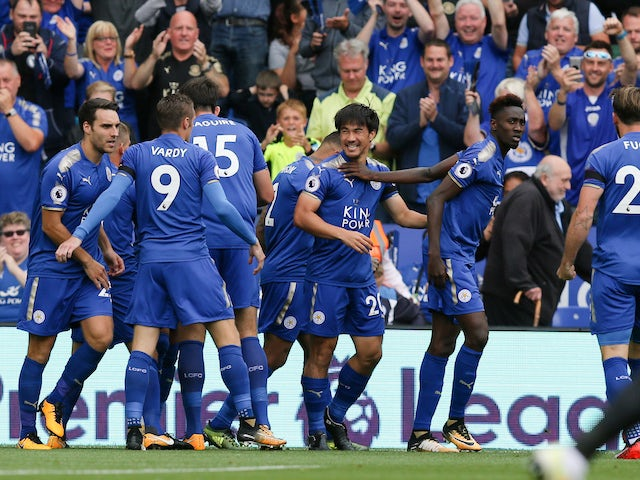 Shinji Okazaki celebrates during the Premier League game between Leicester City and Brighton & Hove Albion on August 19, 2017