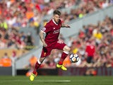 Alberto Moreno in action during the Premier League game between Liverpool and Arsenal on August 27, 2017