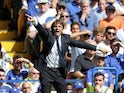 A frantic Antonio Conte gives instructions during the Premier League game between Chelsea and Everton on August 27, 2017