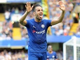 Cesc Fabregas celebrates scoring during the Premier League game between Chelsea and Everton on August 27, 2017