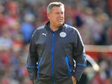 Craig Shakespeare watches on during the Premier League game between Manchester United and Leicester City on August 26, 2017