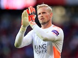 Kasper Schmeichel applauds during the Premier League game between Manchester United and Leicester City on August 26, 2017