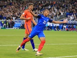 Kylian Mbappe celebrates scoring during the World Cup qualifier between France and the Netherlands on August 31, 2017