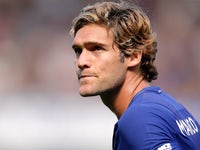 Marcos Alonso in action during the Premier League game between Chelsea and Everton on August 27, 2017