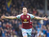Chris Wood celebrates scoring during the Premier League game between Burnley and Crystal Palace on September 10, 2017