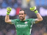 Claudio Bravo celebrates during the Premier League game between Manchester City and Liverpool on September 9, 2017