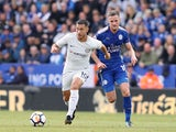 A fit-again Eden Hazard is pursued by Andy King during the Premier League game between Leicester City and Chelsea on September 9, 2017