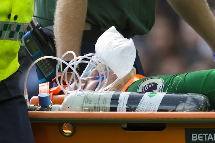 Ederson is stretchered off during the Premier League game between Manchester City and Liverpool on September 9, 2017