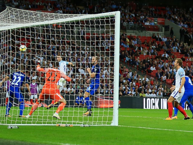 Eric Dier scores an equaliser during the World Cup qualifier between England and Slovakia on September 4, 2017