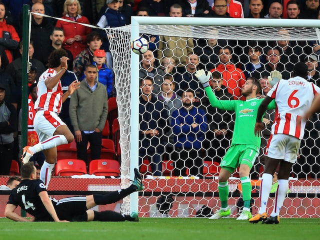 Eric Maxim Choupo-Moting gets his second during the Premier League game between Stoke City and Manchester United on September 9, 2017