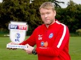 Grant McCann poses with his League One manager of the month award for August 2017