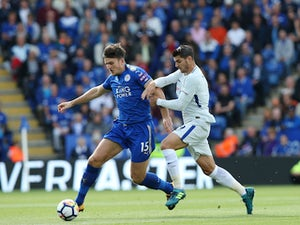 Harry Maguire and Alvaro Morata in action during the Premier League game between Leicester City and Chelsea on September 9, 2017