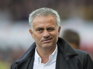 Jose Mourinho winks during the Premier League game between Stoke City and Manchester United on September 9, 2017