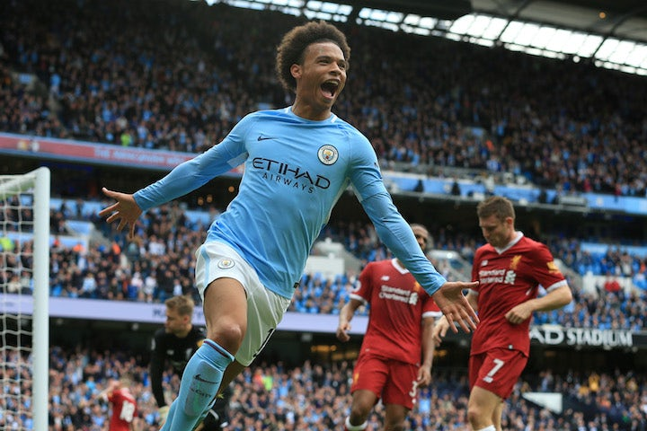 Leroy Sane celebrates the fourth during the Premier League game between Manchester City and Liverpool on September 9, 2017