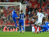 Marcus Rashford sends in the second during the World Cup qualifier between England and Slovakia on September 4, 2017