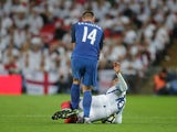Milan Skriniar appears to kick Dele Alli during the World Cup qualifier between England and Slovakia on September 4, 2017