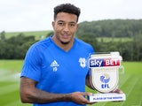 Nathaniel Mendez-Laing poses with his Championship player of the month award for August 2017