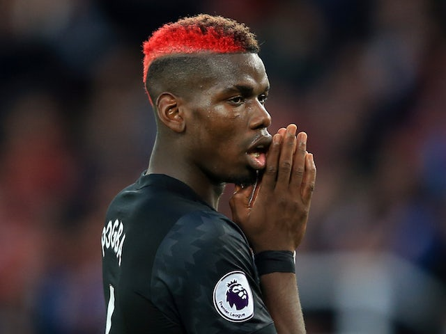 Paul Pogba reacts to his effort being saved during the Premier League game between Stoke City and Manchester United on September 9, 2017