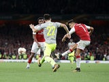 Alexis Sanchez puts the Gunners in the lead during the Europa League game between Arsenal and FC Koln on September 14, 2017
