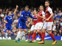 Alvaro Morata holds off Laurent Koscielny during the Premier League game between Chelsea and Arsenal on September 17, 2017