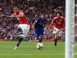 Anthony Martial scores the fourth from the spot during the Premier League game between Manchester United and Everton on September 17, 2017