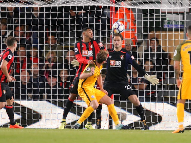 Dale Stephens's header comes back off the bar during the Premier League game between Bournemouth and Brighton & Hove Albion on September 15, 2017