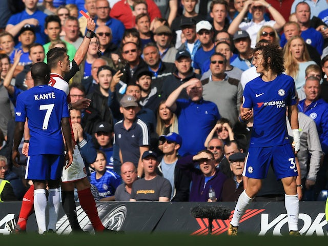 David Luiz sees red during the Premier League game between Chelsea and Arsenal on September 17, 2017