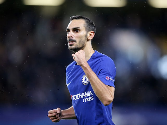 Davide Zappacosta celebrates scoring during the Champions League game between Chelsea and Qarabag on September 12, 2017