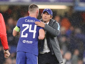 Gary Cahill celebrates with a chilled-out Antonio Conte after the Champions League game between Chelsea and Qarabag on September 12, 2017