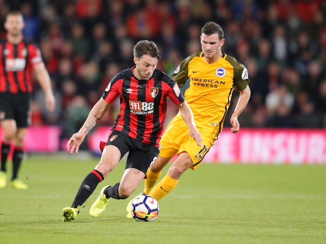 Harry Arter and Pascal Gross in action during the Premier League game between Bournemouth and Brighton & Hove Albion on September 15, 2017