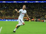 Tottenham Hotspur striker Harry Kane celebrates scoring for his side during their Champions League Group H clash with Borussia Dortmund at Wembley on September 13, 2017