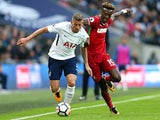Jan Vertonghen and Tammy Abraham in action during the Premier League game between Tottenham Hotspur and Swansea City on September 16, 2017