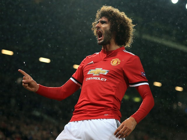 Marouane Fellaini celebrates scoring during the Champions League game between Manchester United and Basel on September 12, 2017