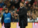 Mauricio Pochettino encourages his players during the Champions League game between Tottenham Hotspur and Borussia Dortmund on September 13, 2017