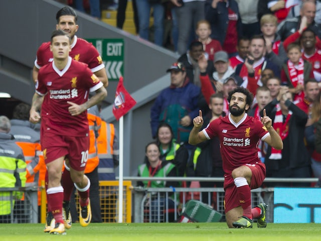 Mohamed Salah celebrates equalising during the Premier League game between Liverpool and Burnley on September 16, 2017