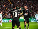 Paris Saint-Germain forwards Neymar and Kylian Mbappe celebrate after scoring during the Champions League win over Celtic on September 12, 2017