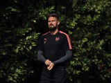 Olivier Giroud in action during an Arsenal training session on September 13, 2017