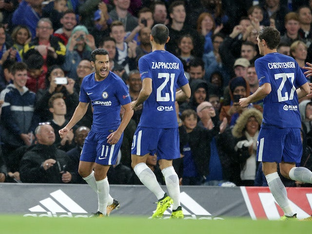 Pedro celebrates scoring during the Champions League game between Chelsea and Qarabag on September 12, 2017