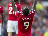 Romelu Lukaku celebrates scoring during the Premier League game between Manchester United and Everton on September 17, 2017