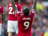 Romelu Lukaku celebrates scoring during the Premier League game between Manchester United and Everton on September 17, 2017