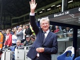 Roy Hodgson waves from the Palace dugout ahead of the Premier League game between Crystal Palace and Southampton on September 16, 2017