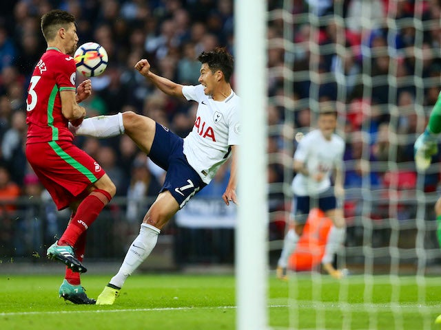 Son Heung-min sends his shot over the crossbar during the Premier League game between Tottenham Hotspur and Swansea City on September 16, 2017