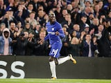 Tiemoue Bakayoko celebrates scoring during the Champions League game between Chelsea and Qarabag on September 12, 2017