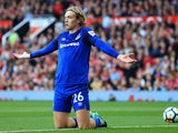 Tom Davies gets down on his knees during the Premier League game between Manchester United and Everton on September 17, 2017