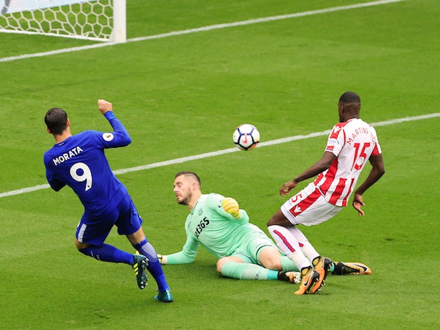 Alvaro Morata scores the opener during the Premier League game between Stoke City and Chelsea on September 23, 2017