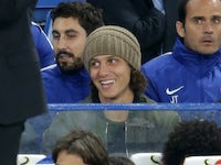 The injured-suspended David Luiz is all smiles during the EFL Cup game between Chelsea and Nottingham Forest on September 20, 2017