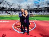 West Ham United co-chairmen David Sullivan and David Gold pose at the London Stadium