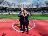 West Ham United co-chairmen David Sullivan and David Gold pose at the London Stadium